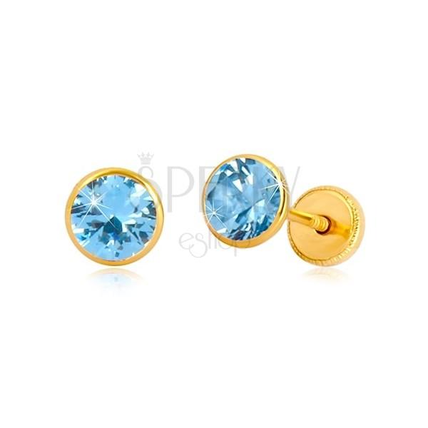 Naušnice od 14K žutog zlata - cirkon nebesko plave boje u postolju, dugmad sa vijkom, 5 mm
