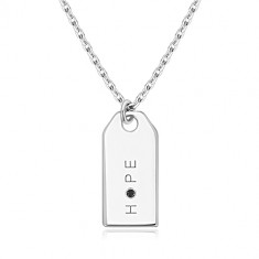 "Crni dijamant - 925 srebrna ogrlice, sjajna pločica, natpis ""HOPE"""