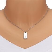 "925 srebrna ogrlice - sjajna pločica, natpis ""HOPE"", crni dijamant"