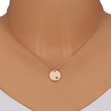 925 srebrna ogrlica - okrugla pločica, crni dijamant u usjeku u obliku srca
