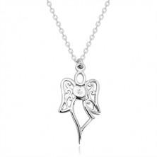 925 srebrna ogrlica - urezani anđeo, srce sa prozirnim dijamantom