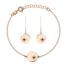 925 srebrni set, ružičasto-zlatna nijansa - narukvica i naušnice, krug s Polarisom, crni dijamant