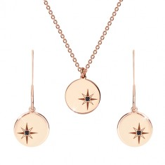 925 srebrni set ružičasto-zlatne boje - ogrlica i minđuše, krug s Polarisom, crni dijamant