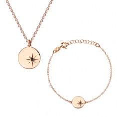925 srebrni set, ružičasto-zlatni nijansa - narukvica i ogrlica, krug, Polaris i dijamant