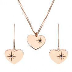 Set ružičasto-zlatne boje, 925 srebro - naušnice i ogrlica, srce s Polarisom i dijamantom