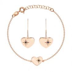 925 srebrni set, ružičasto-zlatna nijansa - narukvica i naušnice, srce s Polarisom i dijamantom