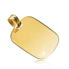 Žuti privjesak od 14K zlata - sjajni pravokutnik s zaobljenim rubovima
