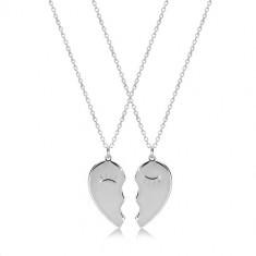 925 srebrni set - dvije ogrlice, prepolovljeno srce sa suženim očima