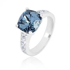 925 srebrni prsten - kvadratni cirkon tamno plave boje i prozirni cirkoni