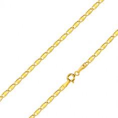 Lančić od 14K žutog zlata - ovalne karike s izrezima i glatkim pravokutnikom, 500 mm