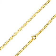 Lančić od 585 žutog zlata - ovalni prstenovi, duguljasti prstenovi s pravokutnikom, 500 mm