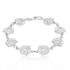 925 925 srebrna narukvica - Keltski čvorovi s tri točke u krugu, jednostavne karike