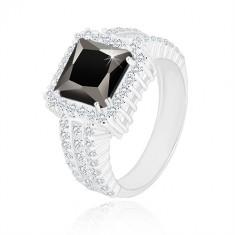925 srebrni prsten - crni kvadratni cirkon, prozirni cirkonski rub i krakovi