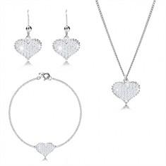 925 srebrni set od tri dijela - simetrično srce s cirkonima, lančić spojen u seriju
