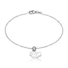 925 srebrna narukvica - svjetlucavi lančić i ovca s glazurom bijele boje