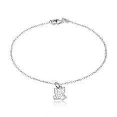 925 srebrna narukvica - privjesak s motivom mačke, sjajne ovalne karike
