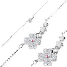 925 srebrna narukvica - svjetlucavi cvijet, tri zvjezdice, male ovalne karike