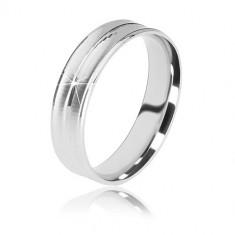 925 srebrni vjenčani prsten - dva mat reza i sjajna pruga u sredini, 5 mm