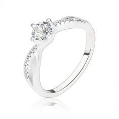 Zaručnički prsten, srebro 925, valoviti isprepleteni krakovi, proziran cirkon