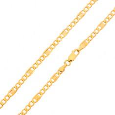 Lančić od zlata 585 - tri ovalne karikice, članak s uzorkom grčkog ključa, 600 mm