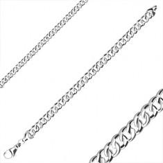 925 srebrna narukvica - sjajna površina, ovalne karike, karabin kopča