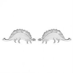 925 srebrne naušnice - svjetlucavi dinosaur - stegosaur, dugmad