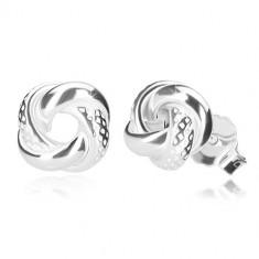 925 srebrne naušnice - sjajni čvor s asimetričnim bojama, dugmad