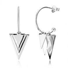 925 srebrne naušnice - sjajni trokut i kuglice, uski luk s kuglom, dugmad