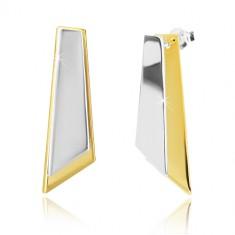 925 srebrne naušnice - asimetrični četverokutnici zlatne i srebrne boje
