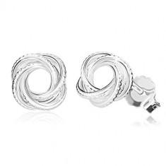 925 srebrne naušnice - sjajni čvor s rezovima, uskim linijama, dugmad
