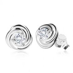 925 srebrne naušnice - cvijet s laticama, svjetlucavi cirkon, dugmad