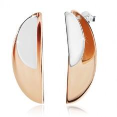 925 srebrne naušnice - sjajni lukovi srebrne i bakrene boje, dugmad