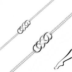 925 srebrna nanogvica - Keltski čvor, dvostruki vojni lančić