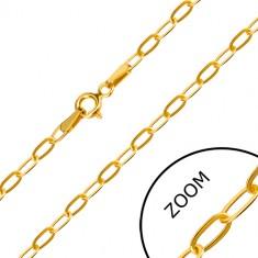 Žuti lančić od 14K zlata - ravna duguljasta karika, kopča s opružnim prstenom, 550 mm