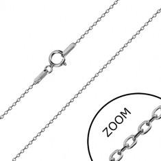 14K lančić od bijelog zlata - sjajne ovalne karike, rolo stil lančića, 450 mm