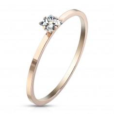 Čelični zaručnički prsten bakrene boje - bistri kvadratni cirkon, sjajna površina