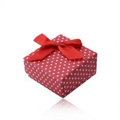 Crvena poklon kutijica za prsten ili naušnice, bijele točkice, mašnica