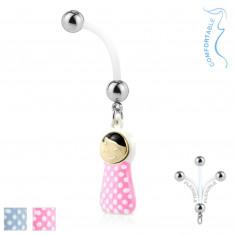 Piercing za pupak izrađen je od bioflexa - čelične kuglice, umotana beba