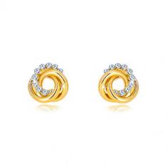 9K zlatne naušnice s cirkonima – tri isprepletena prstena