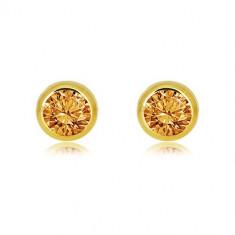 9K zlatne naušnice – prirodni žuti dragi kamen citrin okruglog oblika