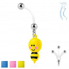 Piercing za pupak od bioflexa - čelične kuglice, pčela s žalcem