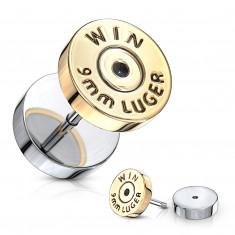 "Lažni plug srebrne boje – ravni krug zlatne boje, znak ""WIN"""