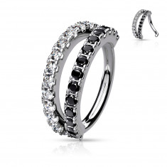 Piercing srebrne boje sa platinom – prozirni i crni cirkoni, okrugli oblik