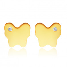 Naušnice od 14K žutog zlata – leptir zrcalno sjajne površine s malim prozirnim cirkonom