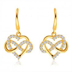 Naušnice od 14K žutog zlata – silueta srca, simbol beskonačnosti, prozirni cirkoni