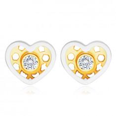 Naušnice od kombiniranog 14K zlata – simetrično srce, okrugli prozirni cirkon