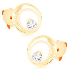 9K zlatne naušnice - spojeni tanki prstenovi ukrašeni svjetlucavim cirkonom, iglica sa leptir osiguračem