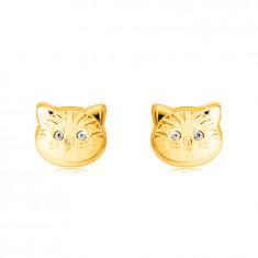 14K Zlatne naušnice - mačja glava s okruglim cirkonskim očima