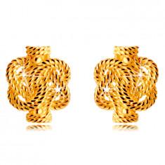 14K zlatne naušnice - isprepletene pruge s uzorkom konopa, dugmad