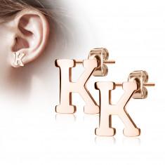 """Čelične dugme naušnice u bakrenoj boji - slovo abecede """"K"""""""